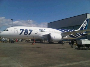 Boeing 787 rolls out of paint hanger