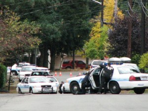 Everett police cars block Fleming street