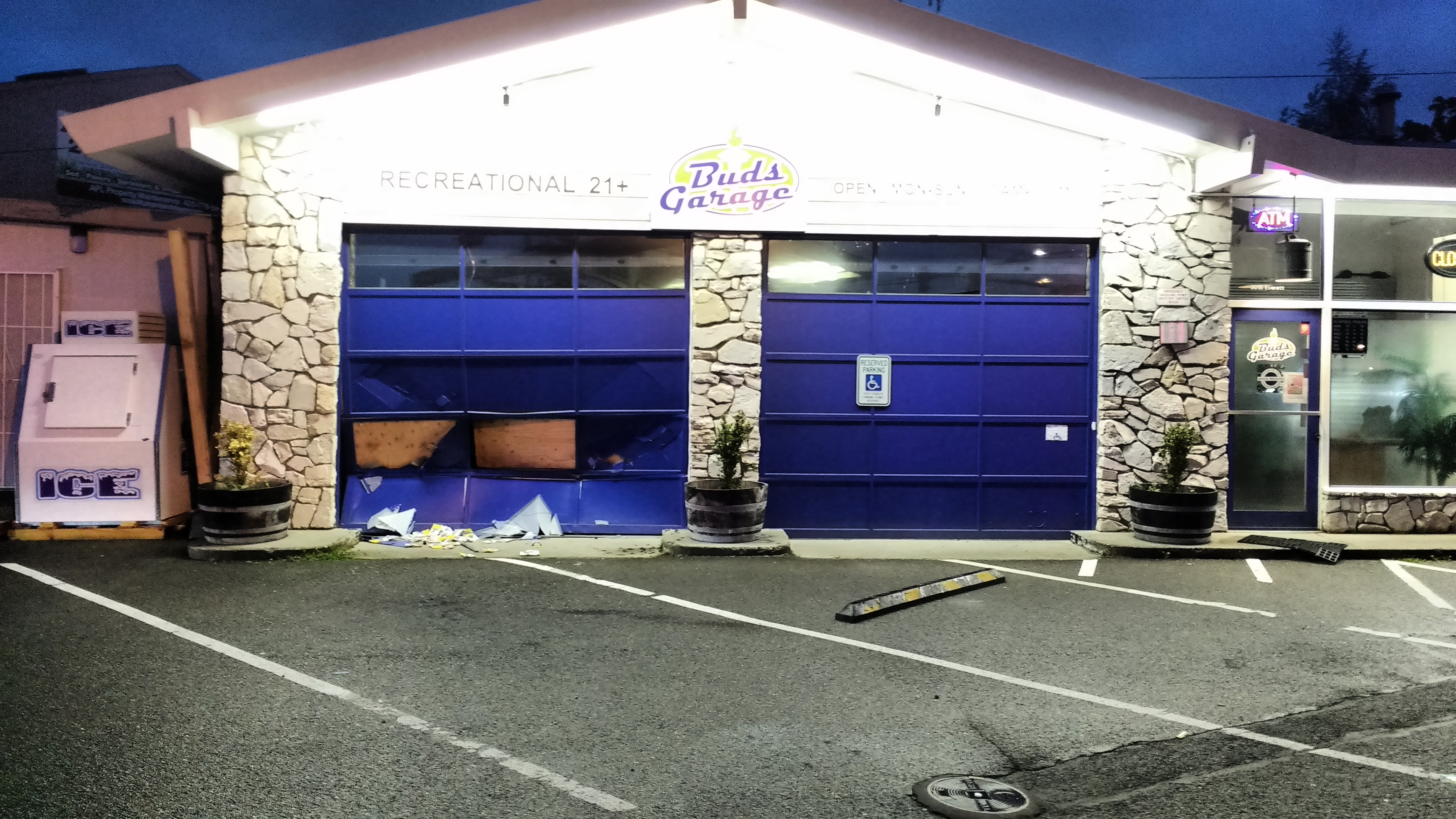 Smash and grab burglars hit stores in everett myeverettnews a vehicle was driven into the front of the store buds garage rubansaba