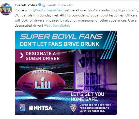 Police urge caution ahead of Super Bowl Sunday weekend