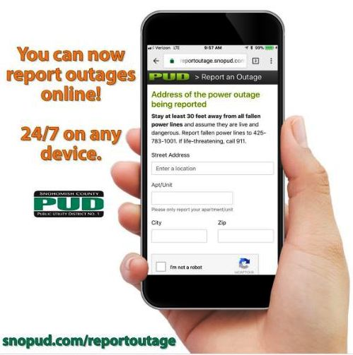 Snohomish PUD Now Offers Online Outage Reporting | MYEVERETTNEWS com