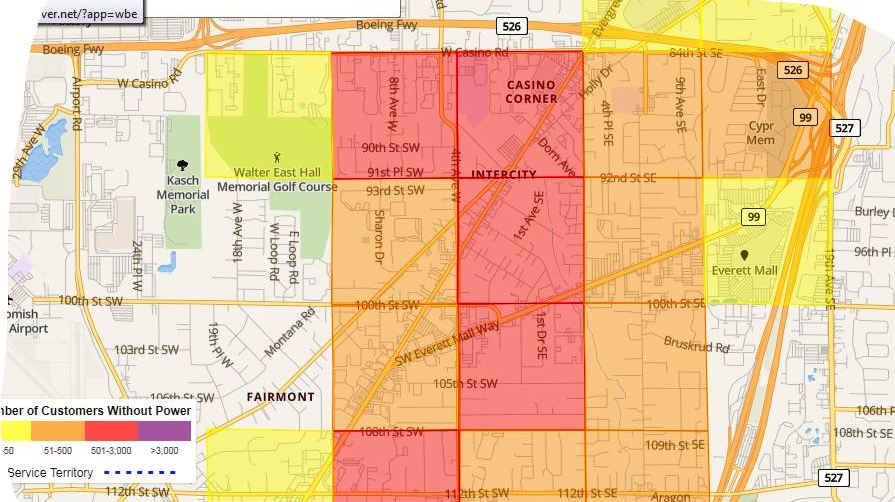 Equipment Failure Cut Power In South Everett | MYEVERETTNEWS.com on pacific power outage map, detroit edison outage map, duke energy outage map, clark public utilities outage map, xcel energy outage map, northwestern energy outage map,